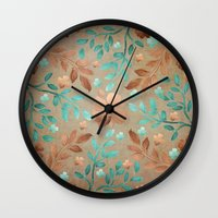copper Wall Clocks featuring Copper Autumn by Lisa Argyropoulos