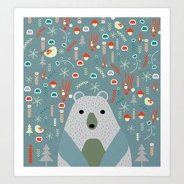 Winter pattern with baby bear Art Print