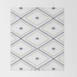 Navajo Pattern - Tan / Navy / White Throw Blanket