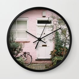 Pink house Wall Clock