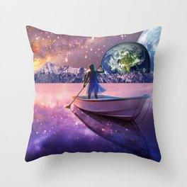 Sailing Away To The New World, From The Darkness To The Light Throw Pillow