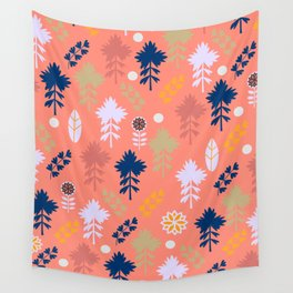 Peach floral decor Wall Tapestry