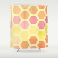 honeycomb Shower Curtains featuring Honeycomb by MisfitIsle