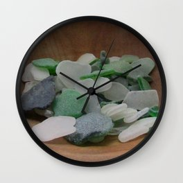 Green and White Sea Glass Wall Clock