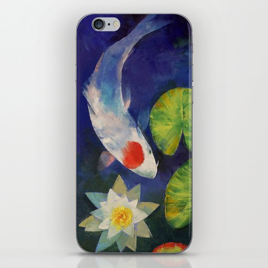 Tancho Koi and Water Lily iPhone & iPod Skin