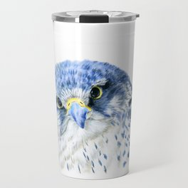 """""""Here's Looking At You"""" painting of a Gyrfalcon by Teresa Thompson Travel Mug"""