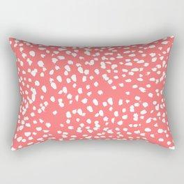 Claudia - abstract minimal coral dot polka dots painterly brushstrokes Rectangular Pillow