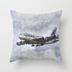 Qatar Airlines Airbus Art Throw Pillow