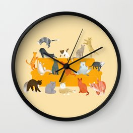 Cute cats on the couch | Beige Wall Clock