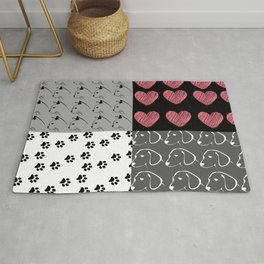 Different Pet and Heart Patterns  Rug