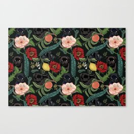 Botanical and Black Pugs Canvas Print