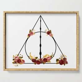Deathly Hallows in Red and Gold Serving Tray