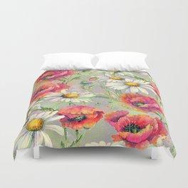 Poppies & Daisies - gray linen Duvet Cover