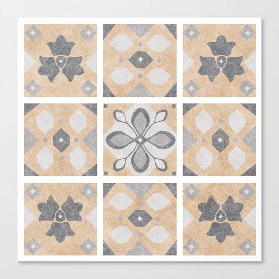Terracotta Vintage Tiles Design Canvas Print