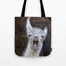 Young Lama with a big mouth | Junges Lama mit grosser Klappe Tote Bag