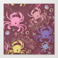 Crab pattern Canvas Print