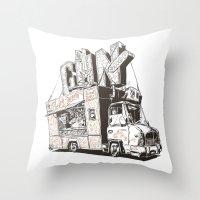 shopping Throw Pillows featuring Shopping Truck by Mitt Roshin