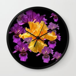 LILAC PURPLE & GOLDEN IRIS ART PATTERN BLACK DESIGN Wall Clock