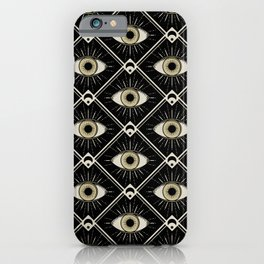 Esoteric eyes and moons geometric on black iPhone Case