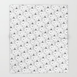 Cryptid Lineart Pattern 2 (White) Throw Blanket