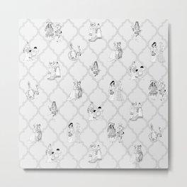 Royal Pattern Grey Metal Print
