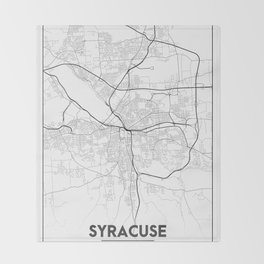 Minimal City Maps - Map Of Syracuse, New York, United States Throw Blanket