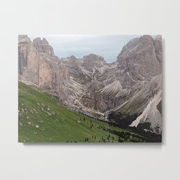 Alps Mountains Peaks Green Meadow Landscape Metal Print
