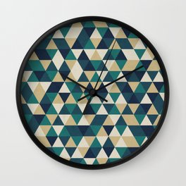 Foggy Petrol and Blue - Hipster Geometric Triangle Pattern Wall Clock