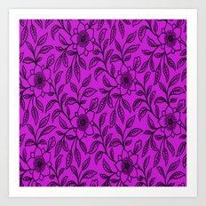Vintage Lace Floral Dazzling Violet Art Print