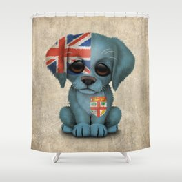 Cute Puppy Dog with flag of Fiji Shower Curtain