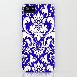 Paisley Damask Blue and White iPhone Case