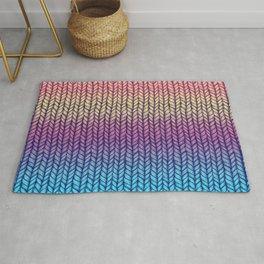 Rainbow Gradient Chunky Knit Pattern Rug