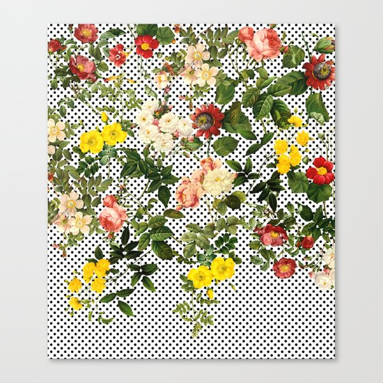 Points and Flowers Pattern Canvas Print