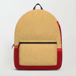 Dark coral red and Beige Line Backpack