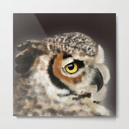 Horned Owl Portrait II Metal Print