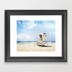 California Beach Photography, Lifeguard Stack Shack San Diego, Coastal Photograph Framed Art Print