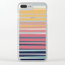 Striped Rainbow Sunset Abstract Pattern Clear iPhone Case