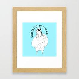 Dove singing Stevie Wonder   Animal Karaoke   Illustration   Blue Framed Art Print