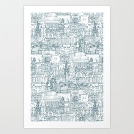 Edinburgh toile denim white Art Print