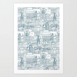 Edinburgh toile denim white Art Print