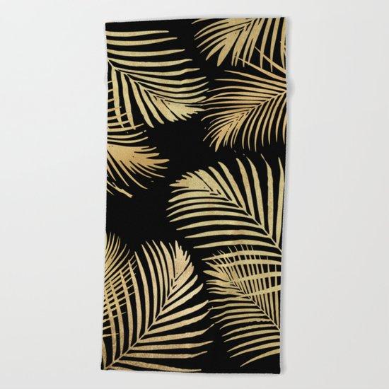 Gold Palm Leaves on Black Beach Towel