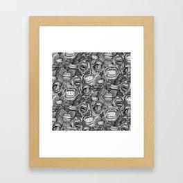 BITE ME roses and orchids BLACK WHITE Framed Art Print