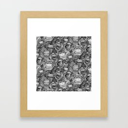 BITE ME roses and orchids BLACK WHITE Framed Art Print
