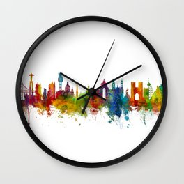 Lisbon Portugal Skyline Wall Clock