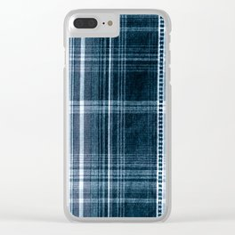 Navy blue checked cotton cloth Clear iPhone Case
