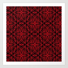 Black and red geometric flowers 5006 Art Print
