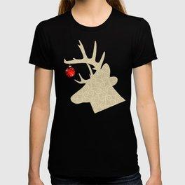 Golden Glittery Deer Holiday Design T-shirt