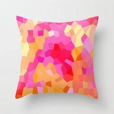Pink, Orange and Yellow Mosaic Cubes Throw Pillow