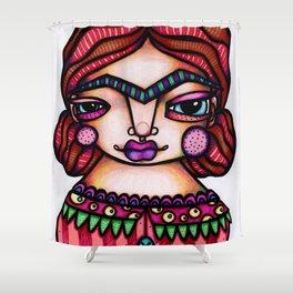 JennyMannoArt Colored Illustration/Frida by JennyMannoArt Shower Curtain