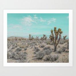 Teal Desert Sky // Cactus Landscape Photography Sierra Nevada USA Cloud Dusted Sky Art Print